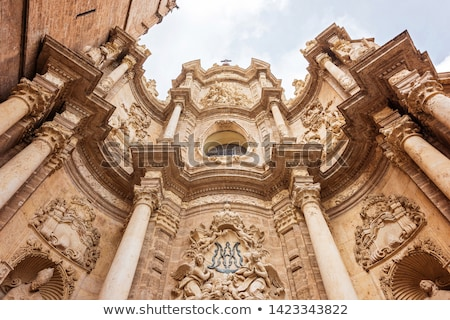 Valencia Historic Downtown El Miguelete And Cathedral Foto stock © FrimuFilms