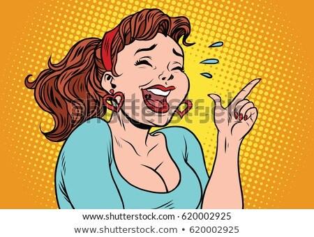 Pop Art Illustration Of A Laughing Woman Stok fotoğraf © rogistok