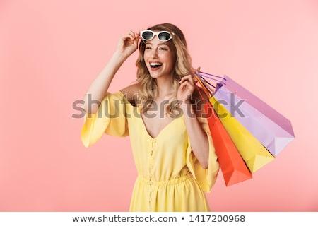 ストックフォト: 写真 · 女性 · 壁 · ショッピング · 画像 · 笑顔