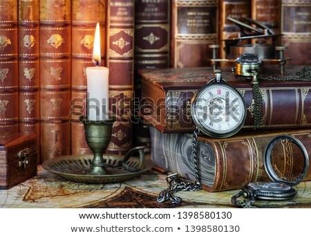 Classic Pocket Watch On Book Stok fotoğraf © Epitavi