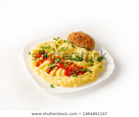 kip · hamburger · witte · plaat · voedsel - stockfoto © yelenayemchuk