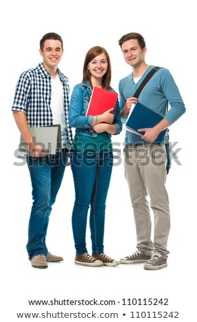 Smiling successful young student on a white background in a clas Stock photo © Traimak