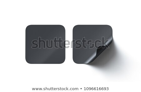 Blank black square stickers with curved corner 3D Stock photo © djmilic