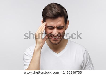 homem · sofrimento · dor · de · cabeça · branco · cabeça - foto stock © andreypopov