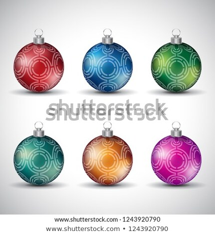 Colorful Glossy Christmas Balls with Maze Like Design Vector Ill Stock photo © cidepix