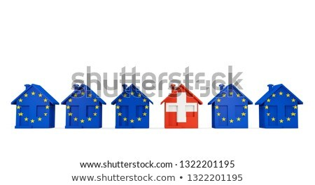 House with flag of switzerland in a row of EU flags Stock photo © MikhailMishchenko