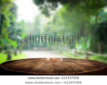 Selected focus empty brown wooden table and green garden or fore Stock photo © Freedomz