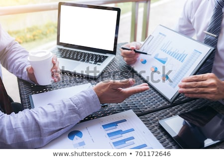 Stock photo: Business team meeting present, investor executive colleagues dis