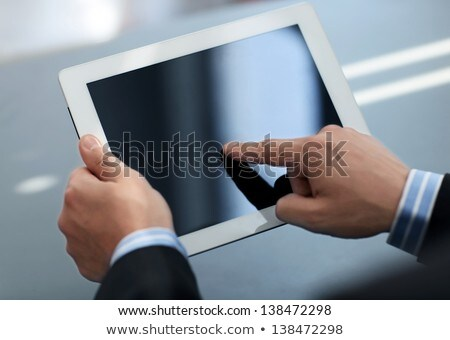 Személy tart tabletta üzlet fiatal üzletember Stock fotó © ra2studio