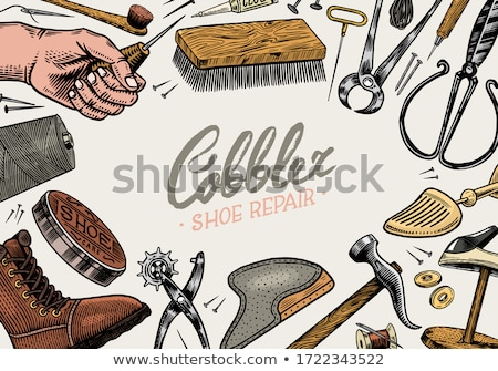 Set of vintage shoes repair and shoemaker labels Stock photo © ShustrikS