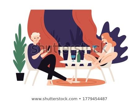 Romantik tarih kafe yaz teras kız Stok fotoğraf © robuart