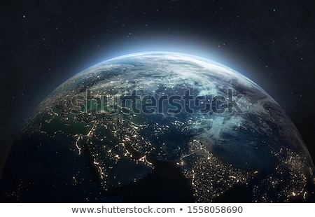 View on Earth planet from moon satellite on space background with bright stars and constellations Stock photo © evgeny89
