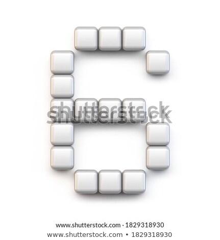 White cube, pixel font Number SIX 6 3D Stock photo © djmilic