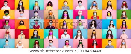 幸せ 若い女性 着用 カラフル 顔 マスク ストックフォト © Giulio_Fornasar