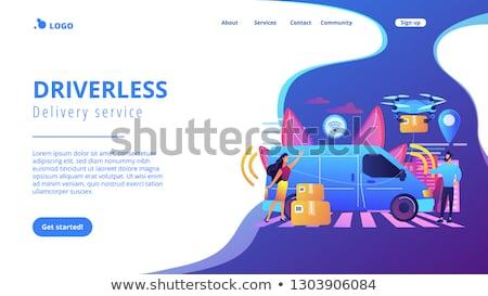 Kurier Landung Seite Lieferwagen Paket Lieferung Stock foto © RAStudio