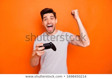 Gamepad coloré blanche sans fil ordinateur technologie Photo stock © magraphics