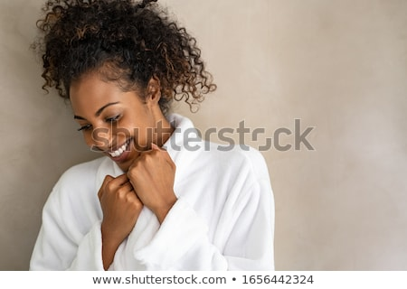 Mulher robe amor casa beleza sorridente Foto stock © photography33