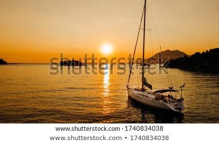 Tramonto mediterraneo mare onde bella cielo Foto d'archivio © rglinsky77