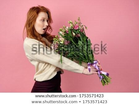 Güzel genç kadın çiçek yalıtılmış beyaz kadın Stok fotoğraf © Nejron