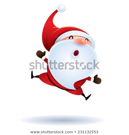 Karácsony érzés mikulás boldog piros vicces Stock fotó © Wetzkaz