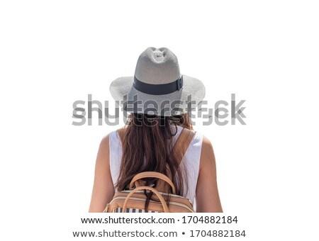Foto stock: Mulher · longo · viajar · isolado · branco · feliz
