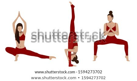 woman in red costume doing exercises on white stock photo © elnur
