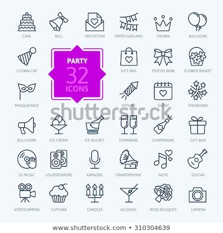 partij · icon · dun · lijn · ontwerp · papier - stockfoto © angelp