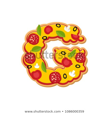 Letter G pizza font. Italian meal alphabet. Lettring fast food Stock photo © popaukropa