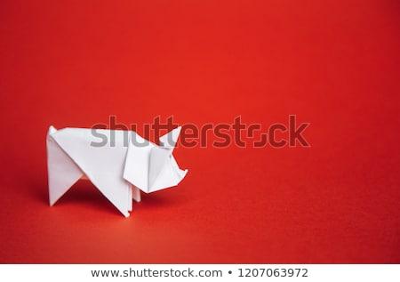 Rózsaszín disznó origami izolált fehér farm Stock fotó © brulove