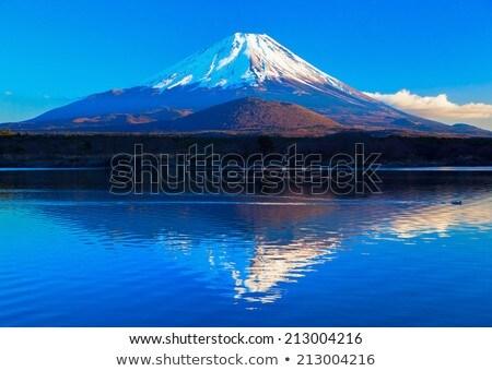 Bleu fuji silhouette sombre ciel bleu nuages Photo stock © craig