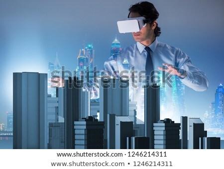 Futuristische architect stedelijke planning huis man Stockfoto © Elnur