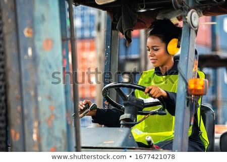 フォークリフト 倉庫 ビジネス 男 作業 ストックフォト © dolgachov