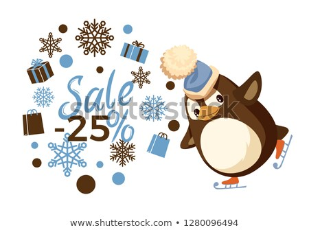 Sale 25 Percent, Skating Penguin in Hat Vector Stock photo © robuart