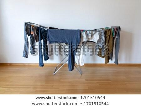 Ropa rack blanco azul 3d caballo Foto stock © make