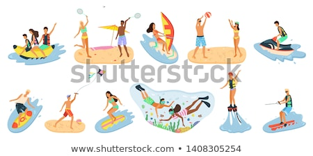 people splashing in sea playing volleyball vector stock photo © robuart