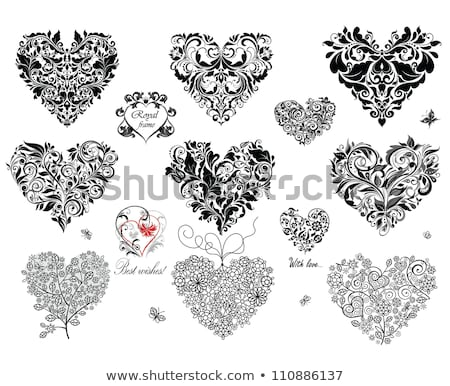 Coeur dentelle blanc noir vecteur design saint valentin Photo stock © RedKoala