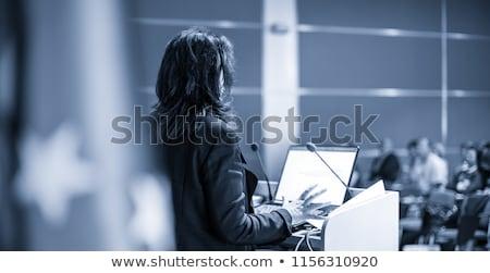 Nők politikus hangszóró pódium képregény rajz Stock fotó © rogistok