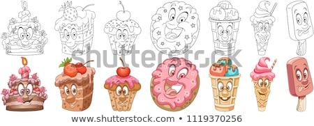 Torták szín ikonok illusztráció pékség terv Stock fotó © olegtoka