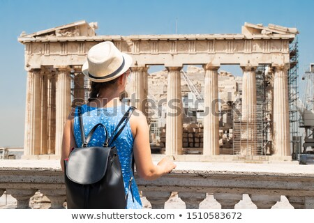 Woman Looking At Pantheon In Athens Stock photo © AndreyPopov