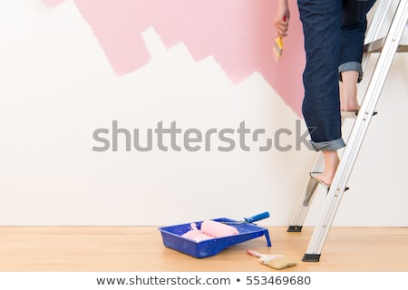 Foto stock: Jovem · bela · mulher · casa · mulher · construção