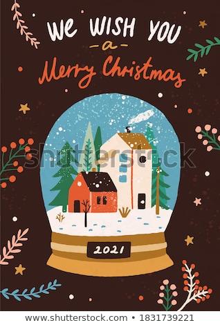 Noël neige monde souvenir dessinés à la main couleur Photo stock © pikepicture