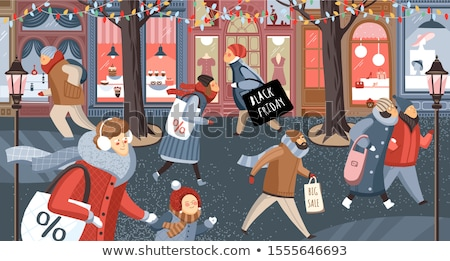 supermarket street of city people shopping vector stock photo © robuart