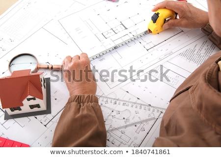 Gobernante medición longitud lápices elaborar triángulo Foto stock © robuart