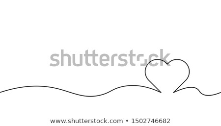 HD line heart, love, valentine romantic banner concept. Stock Vector illustration isolated on white  Stock photo © kyryloff