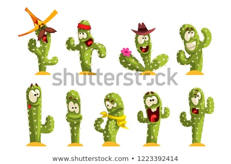 set cute illustration   cartoon cactus emotion stock photo © rwgusev