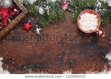Karácsony dekoráció mályvacukor karácsony fenyőfa csésze Stock fotó © karandaev