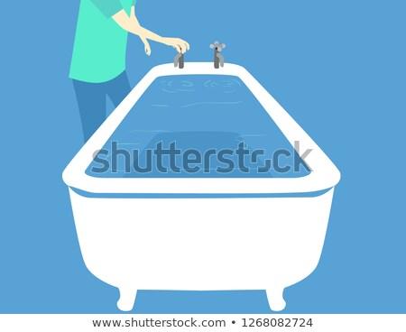 Furacão banheira ilustração homem enchimento para cima Foto stock © lenm