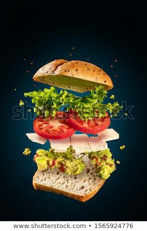 Vegetariano sanduíche tofu azul voador queijo Foto stock © georgemuresan