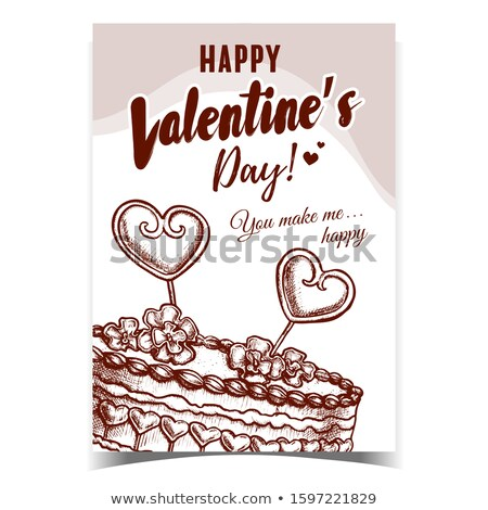 Cake Decorated Hearts And Flowers Poster Vector Stock photo © pikepicture