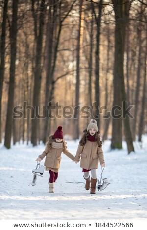 ayak · izleri · kar · soyut · kış · buz · ayak - stok fotoğraf © andreykr